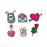 Valentinstagsatz von sechs Hand gezeichneten netten Ikonen lokalisiert auf weißem Hintergrund Lizenzfreie Stockbilder