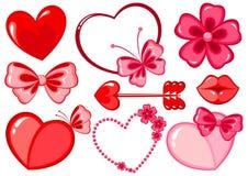 Valentinstagschablonen eingestellt Stockbilder
