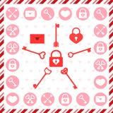 Valentinstagstempel, -ikonen und -muster vektor abbildung