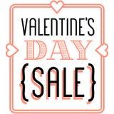 Valentinstagverkaufs- und -rabattweinlesefahnenmitteilung Lizenzfreie Stockfotografie