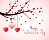 Valentinträd med hjärta formade sidor och hängande hjärtor stock illustrationer