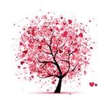 Valentintree med hjärtor för din design Arkivfoto