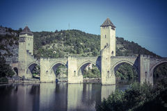 The Valentre bridge in Cahors town, France Royalty Free Stock Photos