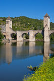 The Valentre bridge in Cahors town, France Stock Photo