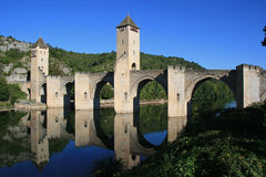 (4) Valentre most Cahors, Francja - Zdjęcia Stock