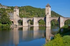 Valentre most w Cahors miasteczku, Francja Fotografia Royalty Free