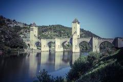 Valentre most w Cahors miasteczku, Francja Zdjęcia Royalty Free