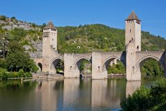 Valentre most w Cahors miasteczku, Francja Obrazy Royalty Free