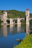 Valentre most w Cahors miasteczku, Francja Zdjęcie Stock