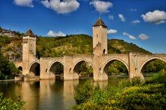 Valentre przerzuca most, symbol Cahors miasteczko, Francja Zdjęcie Royalty Free