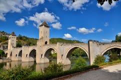 Valentre przerzuca most, symbol Cahors miasteczko, Francja Obrazy Stock