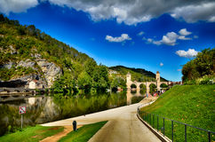 Valentre przerzuca most, symbol Cahors miasteczko, Francja Zdjęcie Stock