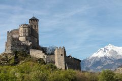 Valere-Schloss in Sion, die Schweiz stockfotografie