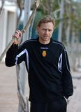 Valeri Karpin pose during his season as first coach of RCD Mallorca soccer team vertical. Valeri Georgievich Karpin is a Russian association football manager of Stock Photography