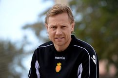 Valeri Karpin pose during his season as first coach of RCD Mallorca soccer team. Valeri Georgievich Karpin is a Russian association football manager of FC Rostov Royalty Free Stock Photo