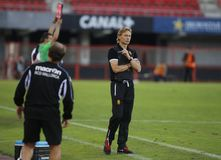 Valeri Karpin during match as first coach of RCD Mallorca soccer team. Valeri Georgievich Karpin is a Russian association football manager of FC Rostov and a Royalty Free Stock Photo