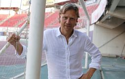 Valeri Karpin pose during his season as first coach of RCD Mallorca soccer team. Valeri Georgievich Karpin is a Russian association football manager of FC Rostov Royalty Free Stock Photos