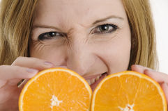 Valeria with delicious oranges Stock Images