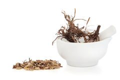 Valerian Herb Root. In a porcelain mortar with pestle with a chopped pile to one side, isolated over white background. Valeriana. Modern day equivalent is Stock Images