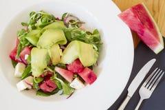 Valeriana Salad Watermelon Avocado Royaltyfria Bilder