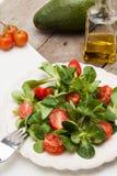 Valerianella con i pomodori Fotografie Stock Libere da Diritti