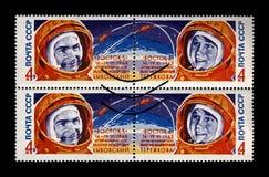 Valery Bykovsky e Valentina Tereshkova, canela Vostok 5 e 6 do foguete, URSS, cerca de 1963, Imagem de Stock Royalty Free