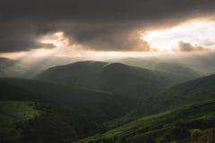 Vales verdes montanhosos caucasianos bonitos com baixas nuvens e raios do sol de ajuste Imagens de Stock