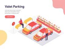 Valet Parking Illustration Concept. Isometric design concept of web page design for website and mobile website.Vector illustration. EPS 10 stock illustration