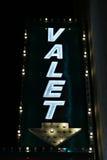 Valet parking neon lights. Valet parking sign neon lights Stock Image