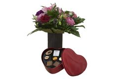Valetines heart shaped box of chocolate and flowers. On isolated background stock photos