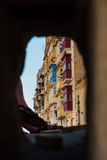 Valetta balconies, view from under a bridge royalty free stock image