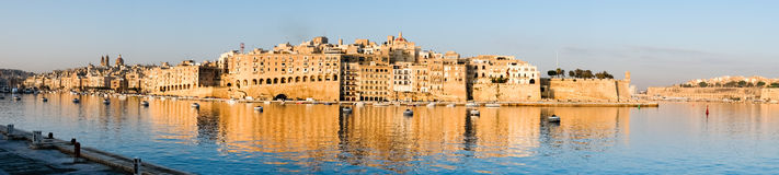 Valetta harbor in the morning, Senglea peninsula in morning ligh. T, panorama Royalty Free Stock Photo