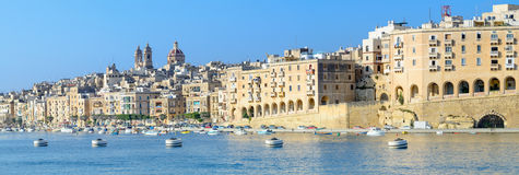 Valetta harbor, panorama of Senglea peninsula Royalty Free Stock Photos