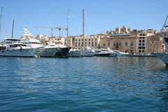Valetta, Malta. Valetta Harbor on the island of Malta, Europe. Expensive yachts in the bay Royalty Free Stock Photography