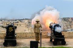 Traditional canon firing salute. Valetta, Malta, Europe on August 7 2018. Traditional canon firing salute Stock Photo