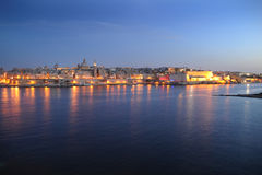 Valetta and Marsamxett Harbour at sundown. Malta Royalty Free Stock Photos
