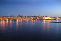 Valetta and Marsamxett Harbour at sundown. Malta royalty free stock photos