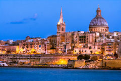 Valetta by night, Malta. Valetta and Marsamxett Harbour. The stunning view from Sliema. Malta Royalty Free Stock Image