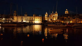 Valetta nightscene. Valetta is the main city of Malta. Here is a night scene from Birgu area Stock Image