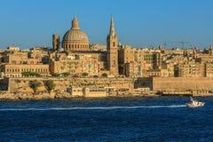 Valetta sunset. Valetta skyline at sunset in Malta Stock Photo