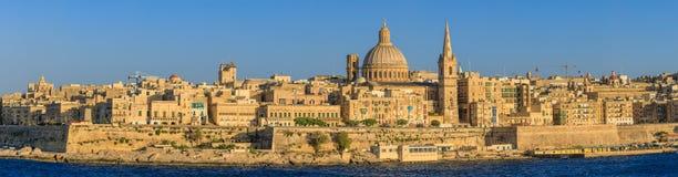 Valetta sunset. Valetta skyline at sunset in Malta Stock Image