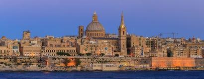 Valetta sunset. Valetta skyline at sunset in Malta Royalty Free Stock Image