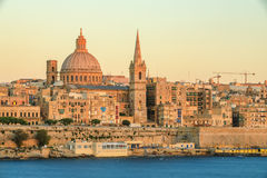 Valetta sunset. Valetta skyline at sunset in Malta Royalty Free Stock Photos