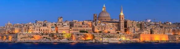Valetta sunset. Valetta skyline at sunset in Malta Stock Photos