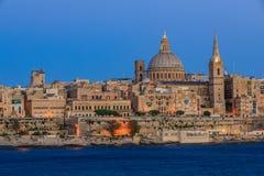 Valetta sunset. Valetta skyline at sunset in Malta Royalty Free Stock Images