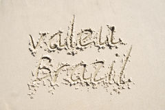 Valeu Thank You Brazil Message in Sand Royalty Free Stock Photography