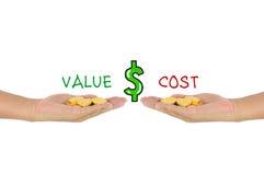 Valeur contre la comparaison des coûts Images stock