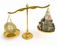 Valeur de Bitcoin sur une échelle Photographie stock