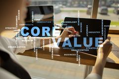 Valeur de noyau sur l'écran virtuel Concept d'affaires Nuage de mots images libres de droits