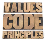 Valeurs, code, principes Images stock